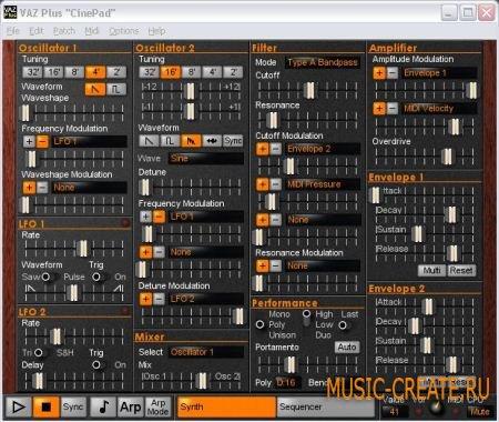 VAZ Synths VAZ Plus STANDALONE DXi VSTi v2.1.3  (ASSiGN) - синтезатор аналоговый