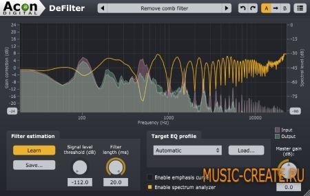 Acon Digital - DeFilter v1.0.2 WiN/MAC (incl. key) - автоматический эквалайзер / дэфильтр