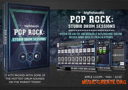 Big Fish Audio - Pop Rock Studio Drum Sessions (KONTAKT) - библиотека звуков ударных
