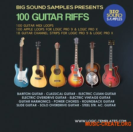 Big Sound Samples - 100 Guitar Riffs (WAV MIDI AIF CST) - сэмплы гитары