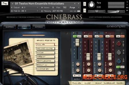 Cinesamples CineBrass Twelve Horn Ensemble (KONTAKT) - библиотека звуков рожков