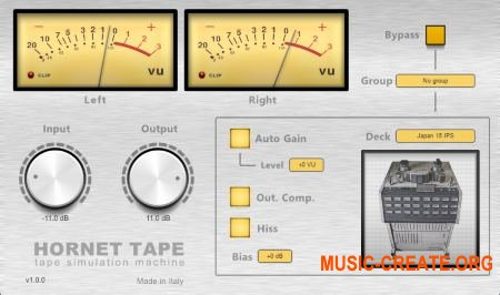 HoRNet Tape MAC / WIN AU / VST / VST3 / AAX 1.1.3 RETAiL - эффект магнитной ленты