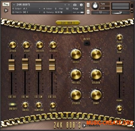 Global Audio Tools 24K 808s (KONTAKT) - библиотека 808-х