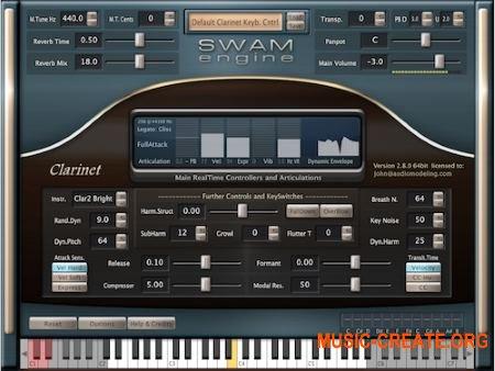 Audio Modelling SWAM engine SWAM Clarinets 2.8.1 CE (Team V.R) - виртуальный кларнет, бас-кларнет