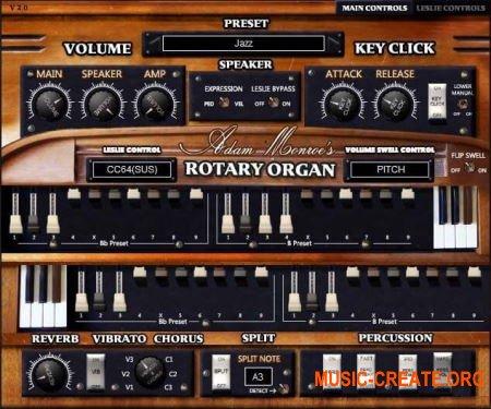 Adam Monroe Music Rotary Organ v2.0 VST AU AAX MAC/WiN - виртуальный орган