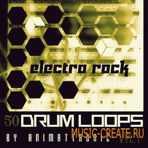 Electro-Rock Drum Loops Vol.1 от Animattronic - сэмплы Electronic, Electronic-Rock