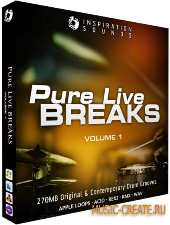 Inspiration Sounds - Pure Live Breaks Vol 1 (WAV AIFF REX) - сэмплы Breaks
