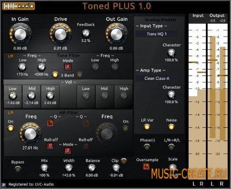 LVC-Audio - TonedPLUS v1.0.2 WiN (Team R2R) - плагин для формирования тембра
