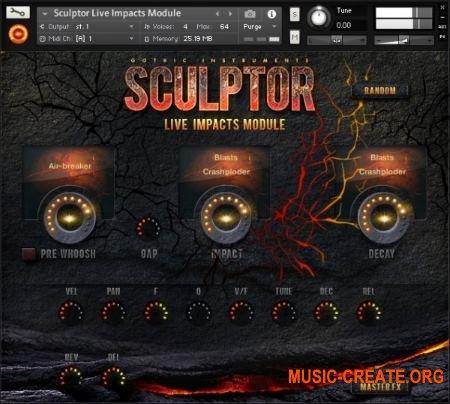 Gothic Instruments - SCULPTOR Live Impacts Module (KONTAKT AiFF) - модуль ударных