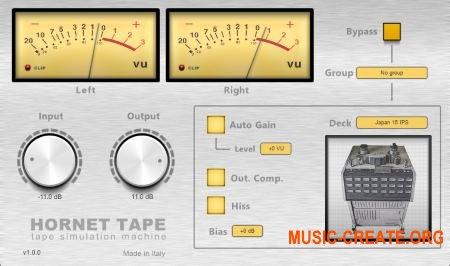 HoRNet Tape MAC/WIN AU/VST2.4/VST3/AAX RETAiL - эффект магнитной ленты