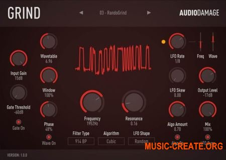 Audio Damage AD035 Grind v1.0.0 WiN-OSX RETAiL (SYNTHiC4TE) - дисторшн / мульти-фильтр плагин
