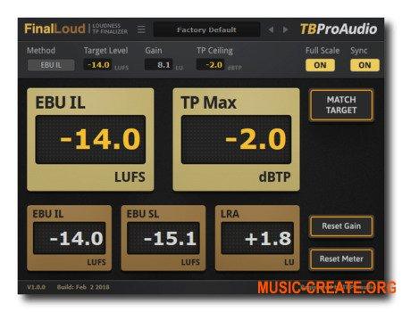 TBProAudio FinalLoud v1.0.4 ( Team R2R) - плагин измерения громкости
