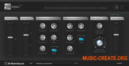G-Sonique Mid-Side Harmonic Vitaliser (x86 WiN) - плагин стереофонический, гармонический генератор / витализатор +  усилитель и процессор