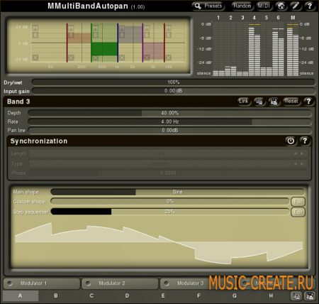 MMultiBandAutopan 2.01 от MeldaProduction - панорамирование
